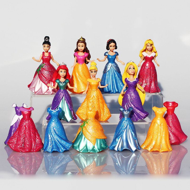 14Pcs/Set Princess Snow White Figures Ariel Belle Rapunzel Aurora PVC Action Figure Toys Dolls Dress Clothes Changeable 8~9cm 11pcs set disney princess toys cinderella belle mermaid ariel sofia snow white fairy rapunzel action figures disney doll gift
