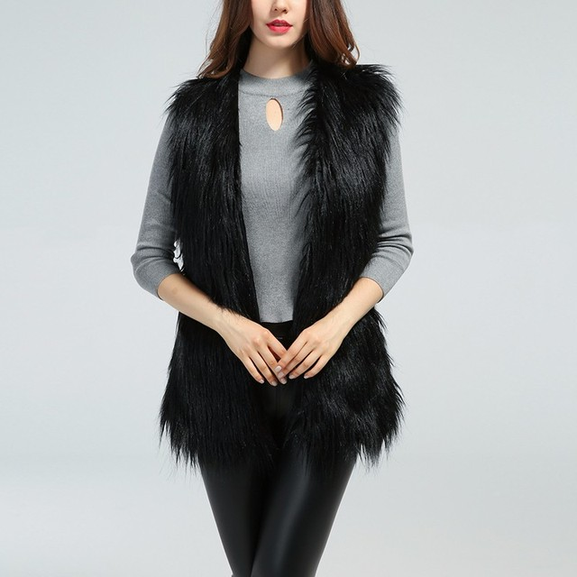 Plus Size 4XL Long Faux Fur Vest Women 2018 Chic Autumn Winter Fluffy Sleeveless Fur Jackets Coats Thicken Warm Outerwear