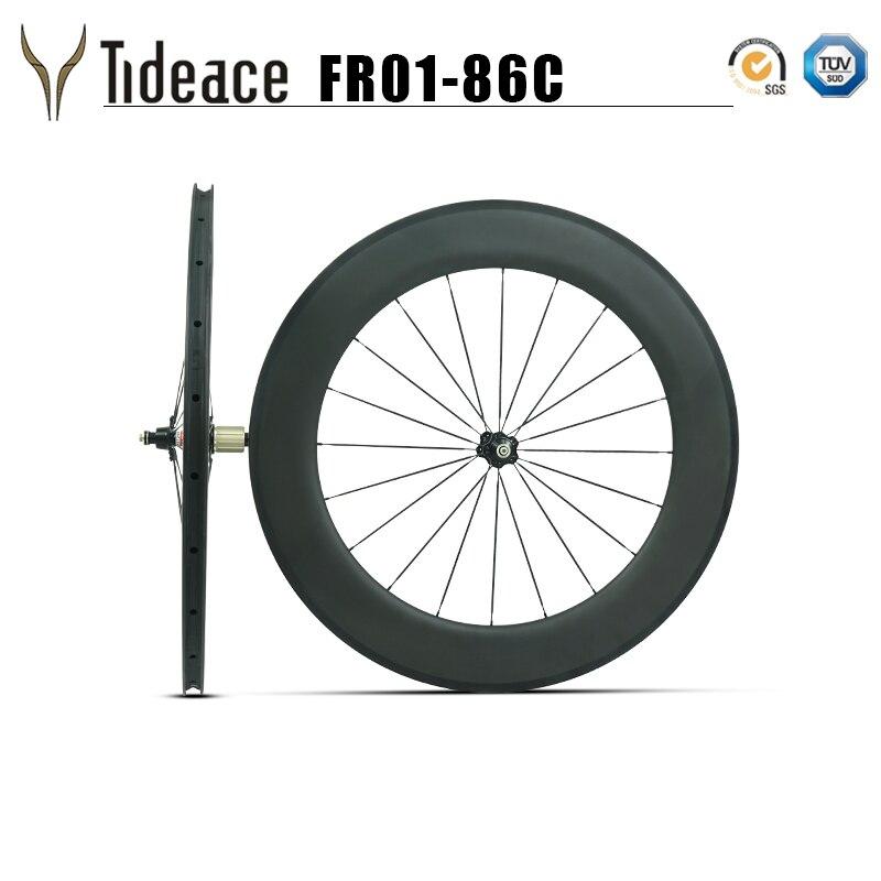 Clincher&tubeless 700C full carbon road rims 86mm clincher wheelset 27mm width basalt brake surface carbon wheels Novatec hubs