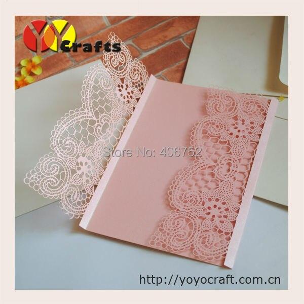Amazing hot sell high grade beautiful pink lace wedding invitation 92 02 92 stopboris Choice Image