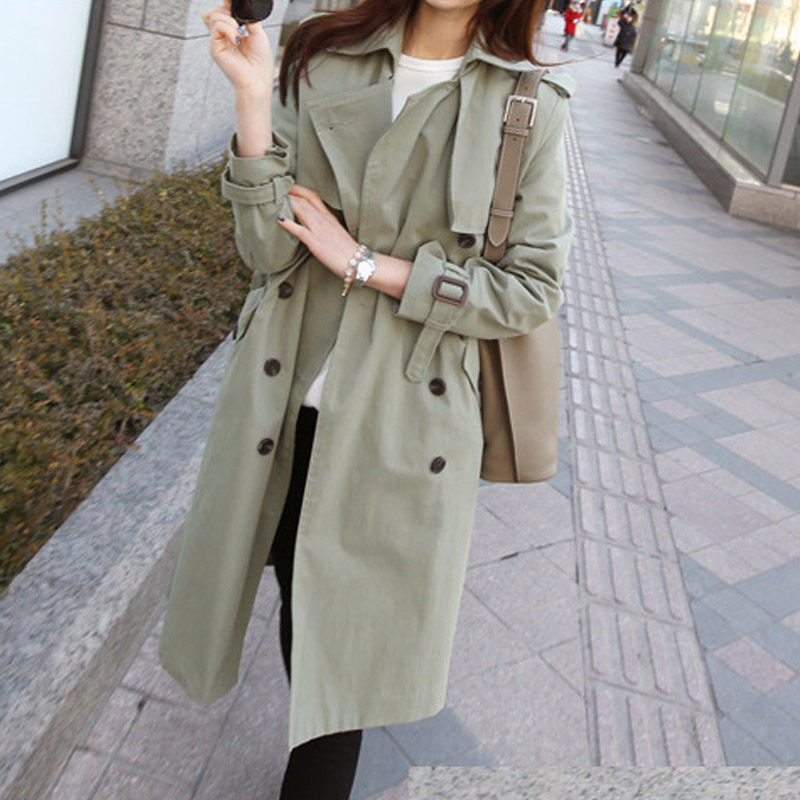 2019 Basic Spring   Trench   Coat Women Korean Style Casual Long Section Self-cultivation Ladies Large Size Chic Windbreaker f863