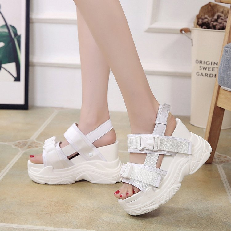 HTB1.FEebh2rK1RkSnhJq6ykdpXan Fujin High Heeled Sandals Female Increased Shoes Thick Bottom Summer 2019 New Women Shoes Wedge with Open Toe Platform Shoes