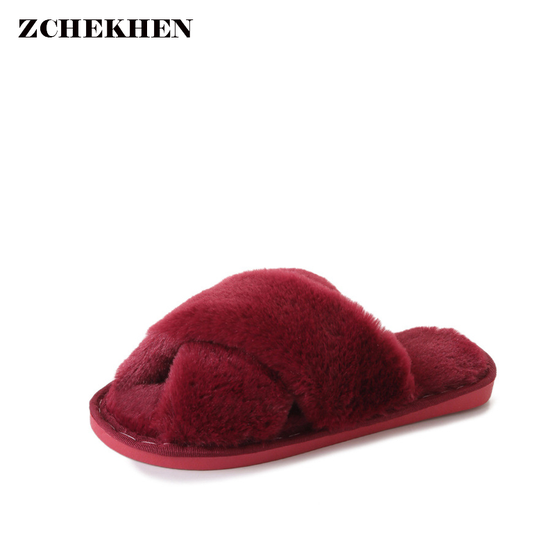 Winter Fashion Women Home Slippers Faux Fur Warm Shoes Woman Slip on Flats Female Fur Flip Flops Pink Plus Size 36-41 vesonal brand faux fur women shoes flats 2017 winter warm velvet female fashion ladies woman sneakers casual footwear tsj 189