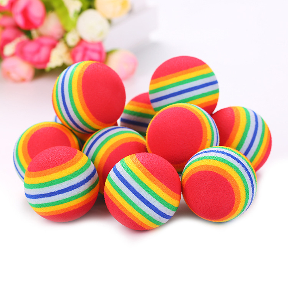 Rainbow Colored Cat Toy Ball
