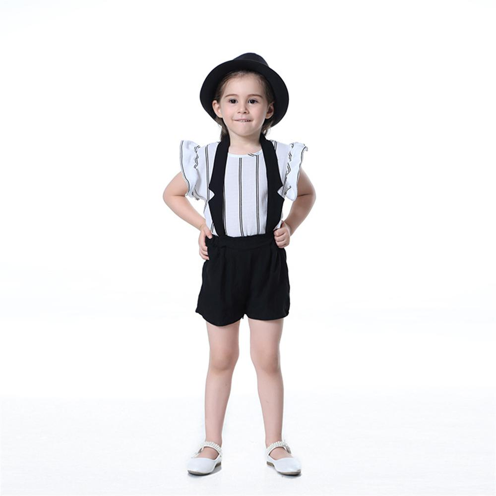 Girls Clothes 2018 New Fashion Summer Style Children Clothing Set Striped Tops Strap Shorts 2pcs Kids Suits 2pcs children outfit clothes kids baby girl off shoulder cotton ruffled sleeve tops striped t shirt blue denim jeans sunsuit set