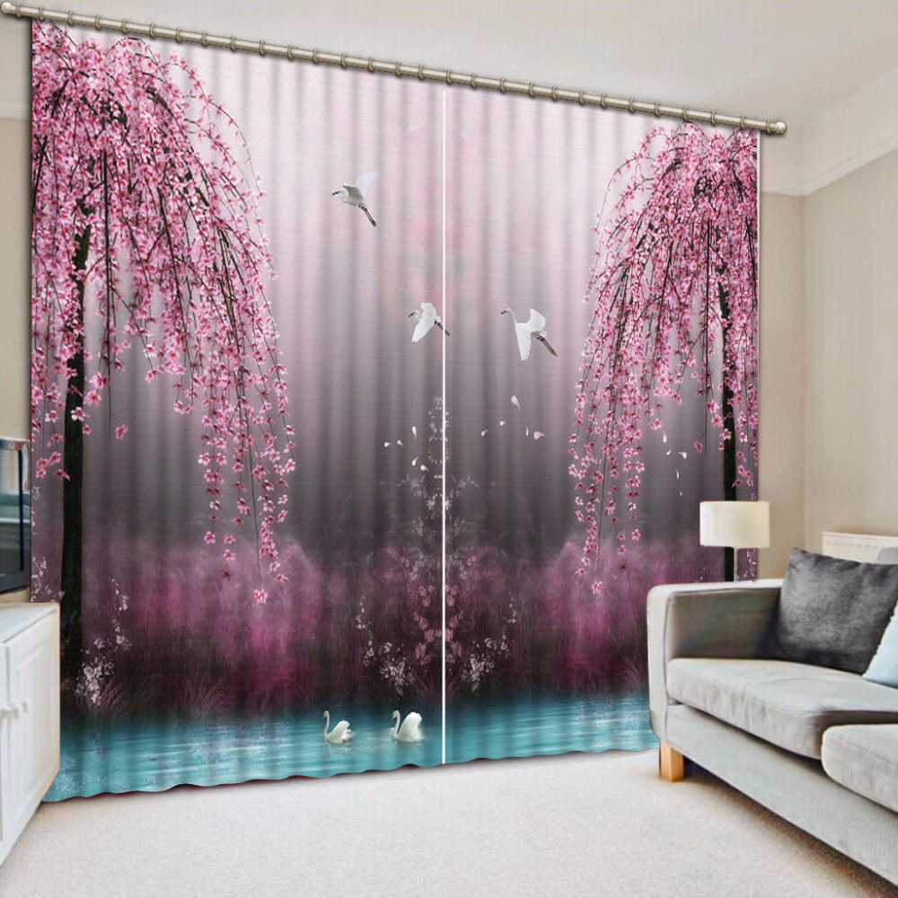 Elegant Pink Curtains lake swan Decoration Curtains For ... on Beautiful Girls Room  id=33186
