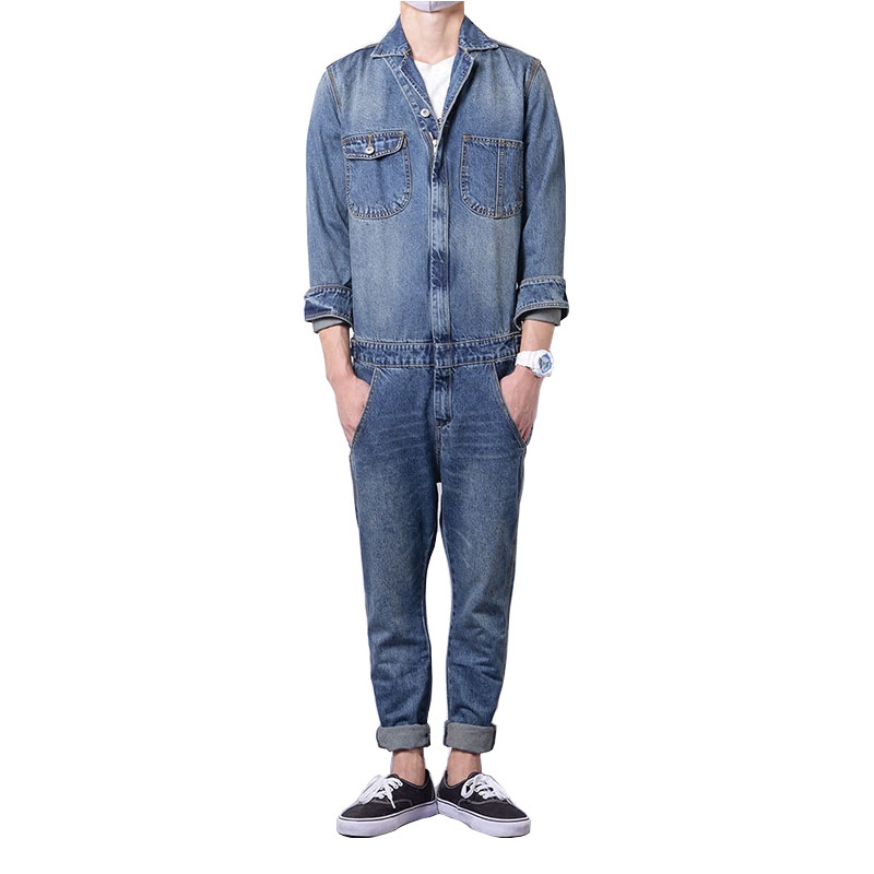 Brand 2017 New Spring and Autumn Men's Fashion Overalls Blue Full Sleeve Denim Jumpsuits Jeans Set mens overalls fashion 2017 spring and autumn fashion new products straight splicing hole jeans personality street trousers c165