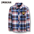 JMBEAR striped boys  shirt  Fashion plaid cotton clothes for 5-14 years autumn/winter long sleeve