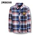 Jmbear listrado meninos moda camisa xadrez roupas de algodão para 5-14 anos outono/inverno de manga comprida