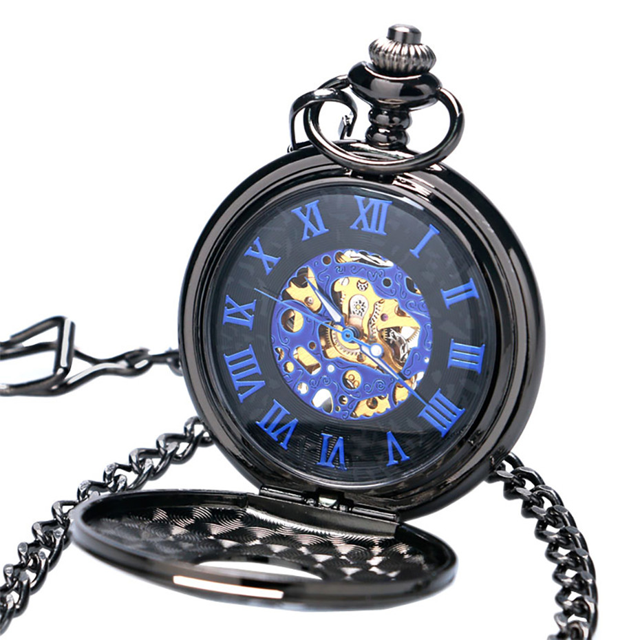 Blue Skeleton Dial Hand Wind Mechanical Pocket Watch Men Black Roman Number Cover Luxury Women Watches with Chain 2019 New ClockBlue Skeleton Dial Hand Wind Mechanical Pocket Watch Men Black Roman Number Cover Luxury Women Watches with Chain 2019 New Clock