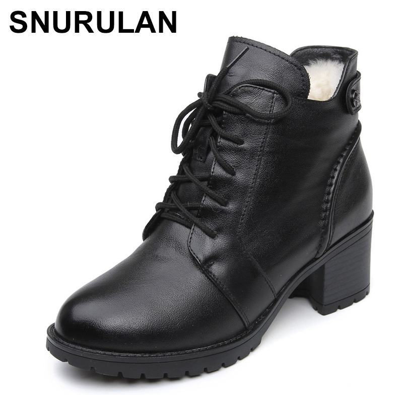 SNURULAN 2018 Fashion Genuine Leather Ankle Boots Women Winter Wool Warm Martin Boots Black Thick High Heel Leather Boot Shoes fanyuan pu leather shoes women ankle boots autumn thick high heel martin boots zip winter handmade leather shoes boot blac