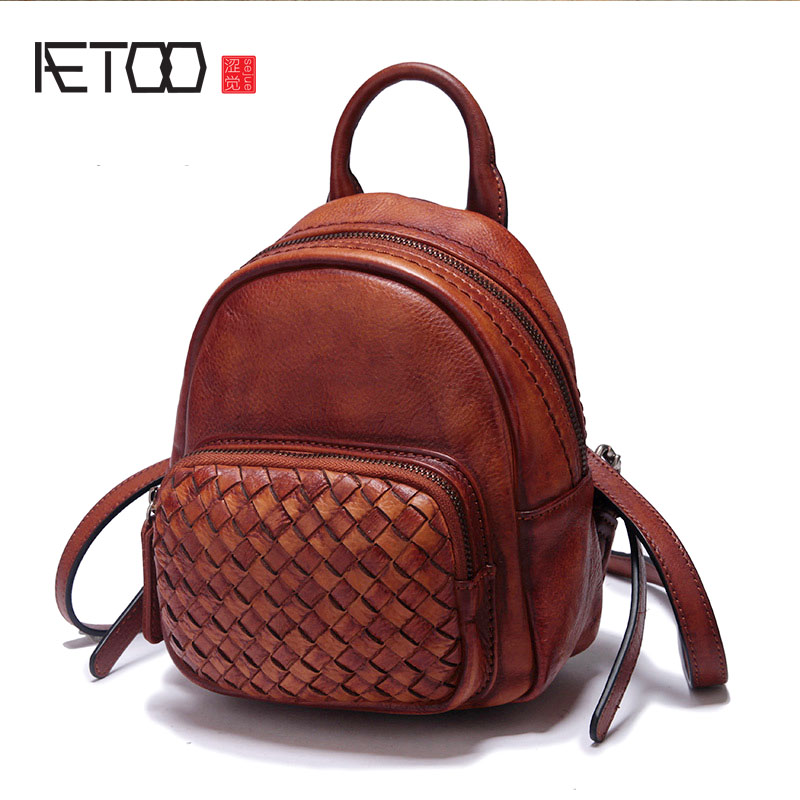 AETOO New leather mini-shoulder hand-woven cowhide retro color small backpack aetoo 2017 new 100