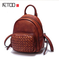 AETOO New leather mini-shoulder hand-woven cowhide retro color small backpack