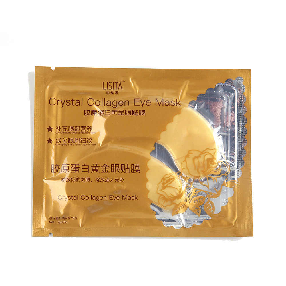 1 çift Altın Göz Maskesi Antipufiness Yaşlanmayan Nemlendirici göz bandı Kristal Jel Altın Maske Gözler için Koyu Halkalar Kaldırmak