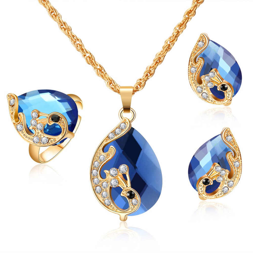 Fashion Wedding Jewelry Gold Color Peacock Shape Crystal Pendant Necklace Earrings Adjustable Rings Set Women Jewelry Sets