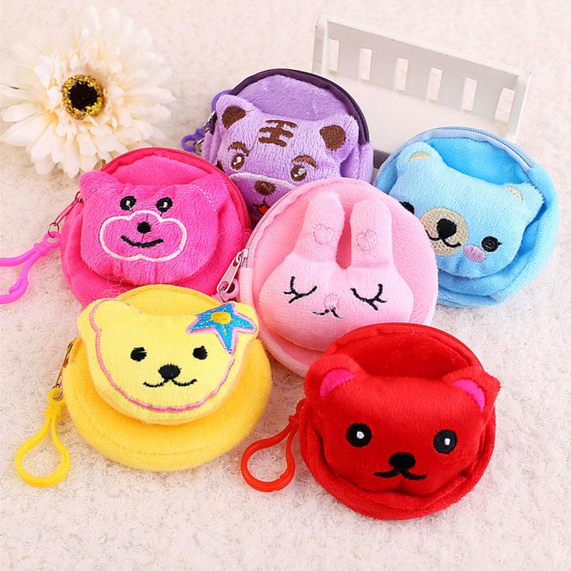 1 pcs Cute Cartoon animal head flannelette children zipper bag kids zero wallet girl boy purse,lady coin wallets Case Free shing