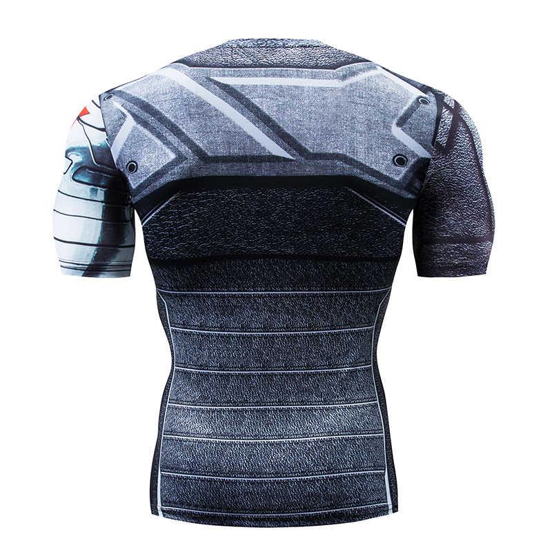 Marvel Superhero Prajurit Musim Dingin Berjalan T Shirt Pria Kebugaran CrossFit T-shirt Lengan Pendek Gym Kompresi Kemeja Pria MMA Tshirt