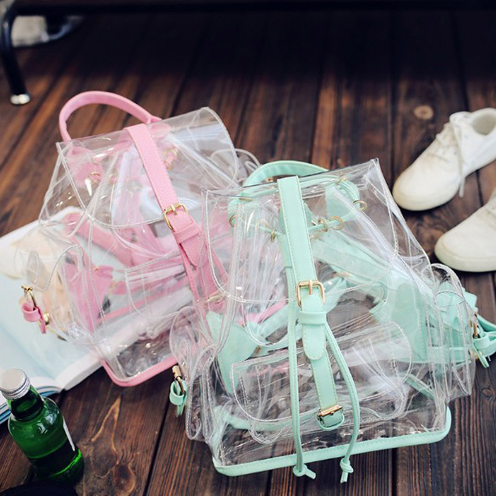 Women's Backpack Clear Plastic Transparent Security Backpack Bag Ladies Travel Bag Ladies School Bagpack mochila feminina