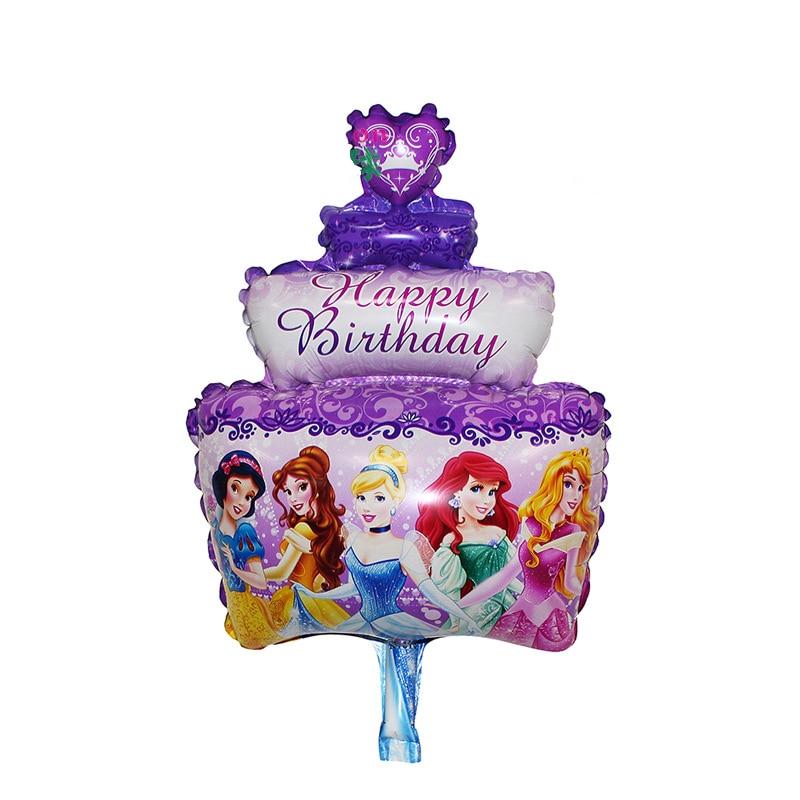 Free shipping 1pc 50*32 Cute Aluminum Foil Balloons Happy Birthday princess cake Balloon Decoration ceremony globos de nfantiles