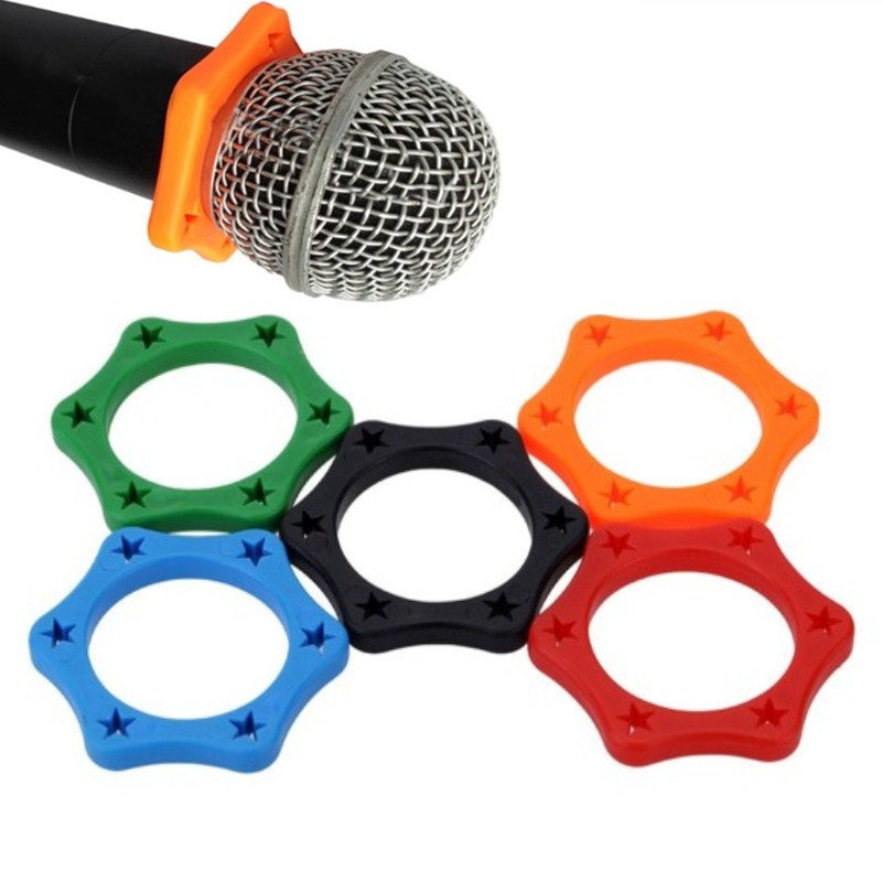 5Pcs Rubber Wireless Handheld Microphone Anti-rolling Mic Protection Ring