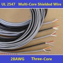 28AWG PVC Insulated 3Cores Shielded Wires Tinned Copper Cable Multicores Shielded Wire UL2547 Free Shipping - 5 Meters