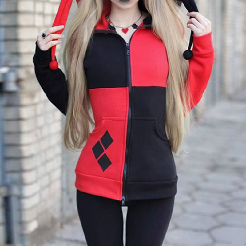 Rosetic Gothic Hooded Women Oversize Autumn Hooded Red Splice Black Gothic Coat Dark Red Women Patchwork Full Sleeves Hoodies