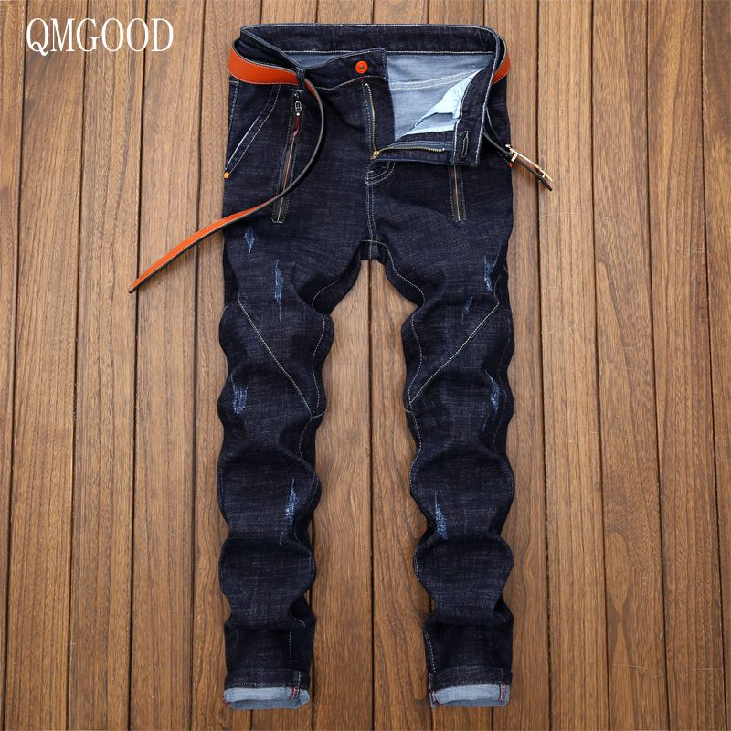 QMGOOD 2017 New Casual Men's Jeans Slim Fit Men Pant Personality Pockets Fashion Jeans Men Straight Plus Size 28~36 Hombre men s cowboy jeans fashion blue jeans pant men plus sizes regular slim fit denim jean pants male high quality brand jeans