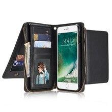 Роскошные Настоящая кожа бумажник чехол для iPhone 7 плюс 6 S Plus с молнией отделения для карточек отсоединены паспорт