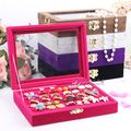 Small rings Jewelry Packaging & Display jewelry box glass cover rings storage box stud earring box earrings jewelry holder rack