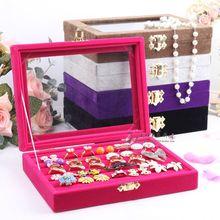 Petits anneaux Bijoux Emballage et Affichage boîte à bijoux couvercle en verre de stockage des anneaux goujon boîte de boucle d'oreille boucles d'oreilles bijoux titulaire rack