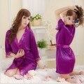 2013 Sexy Lingerie Cetim Nighty para mulheres Lace Sexy Vestido Robe Mangas Compridas Mini Vestido Pijamas