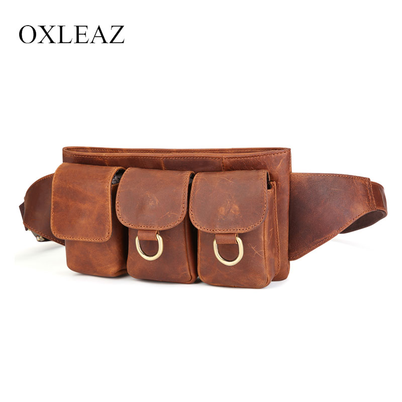 OXLEAZ Men Belt Pouch Casual Genuine Leather Crossbody Bags Zipper Women Chest Waist Bags Travel Chest Bag Fanny Waist Pack цена
