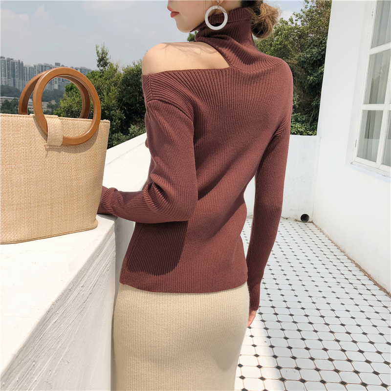 Colorfaith Women Pullovers Sweater 19 Knitting Autumn Winter Turtleneck Sexy Hollow Out Off Shoulder Casual Ladies Tops SW755 21