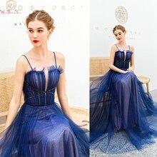 2019 Elegant Navy Blue Formal Party Prom Dresses Long vestidos de gala Spaghetti Straps Evening Graduation Gowns Walk Beside You