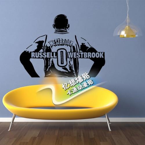 Free shipping diy vinyl custom cartoon stickers the oklahoma city thunder russell westbrook decorative wall