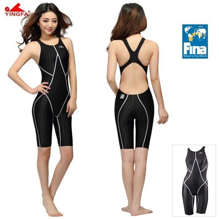 Yingfa FINA aprovado competição na altura do joelho de cloro impermeável swimwear maiô sharkskin das mulheres resistentes