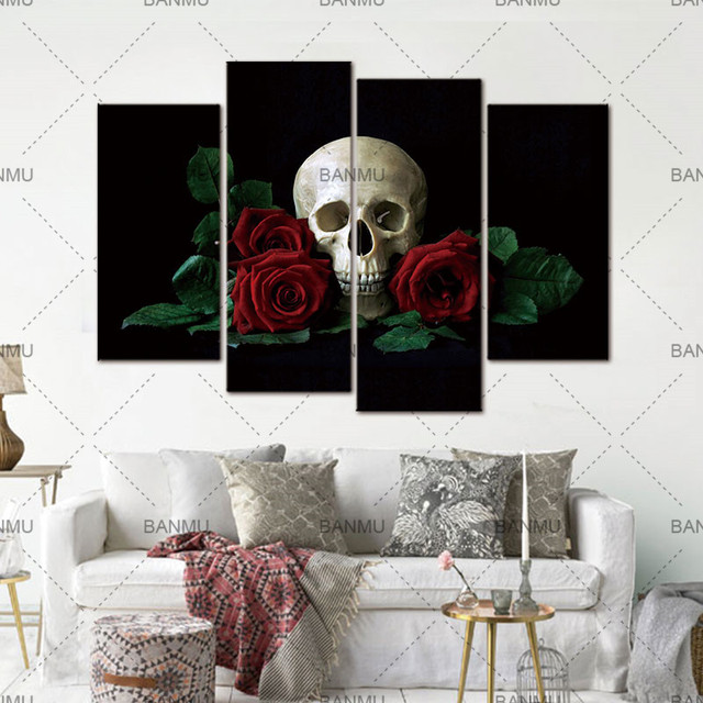 skull red rose home decor wall painting canvas painting cuadros rh aliexpress com red rose homes padiham red rose homes padiham
