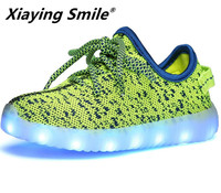Xiaying Smile Boys Girls Luminous LED Shoes Children Flats Shoes USB Cycle Charging Casual Lace Up Mesh Light Soft Rubber Shoes