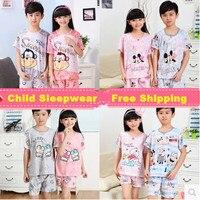 Hot Sale Children Pajama Set Cotton Cute Cartoon Sleepwear Fashion Pyjamas Kids With Short Sleeved Boys
