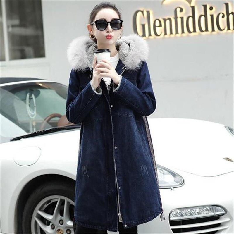 Blue Hiver Long Nouvelle Plus Manteaux Grande Vestes En Taille La 2018 Jeans D'agneau Dame Denim Laine À Femmes Épais Outwea Capuche Manteau Femme fBqaA5awx