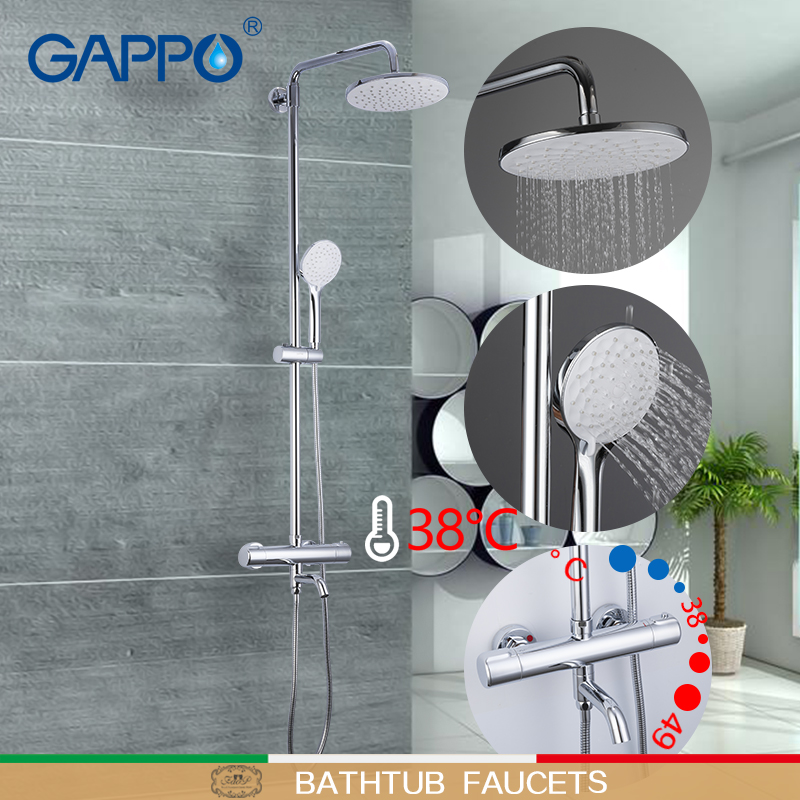 GAPPO rubinetti Doccia termostatico doccia rubinetto del bagno miscelatore doccia a pioggia set termostato rubinetto miscelatore cascata rubinetto