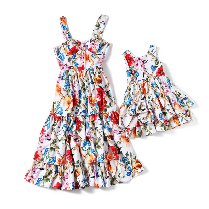 Mother and Daughter Floral Summer Baby Girls Dress Children Princess Vestido Print Vest Chiffon Cupcake Dresses Party Clothing halter floral print pattern daughter dresses in green