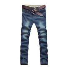2016 зимние мужские классические Высокое качество джинсы, мужские прямые хлопок джинсы Карандаш Брюки Большой размер 28-42 Бесплатная доставка