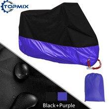 L xl 2xl 3xl 4xl 190 t negro + púrpura cubierta de la motocicleta protector uv lluvia a prueba de polvo a prueba de agua anti-robo moto cubierta con agujeros de bloqueo