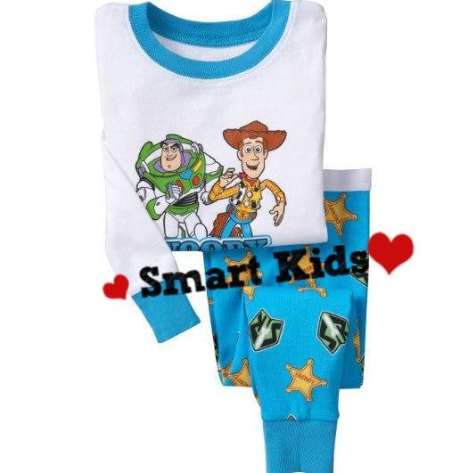 Free shipping!! baby boys pajamas,blue and white clothes,toys pajamas,cotton sleepwear,6sets/lot