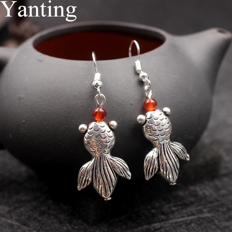 Yanting Cute Fish Dangle Earrings For Women Brincos Handmade Vintage Earrings Female Girls Wholesale Beach Holiday Jewelry 0442