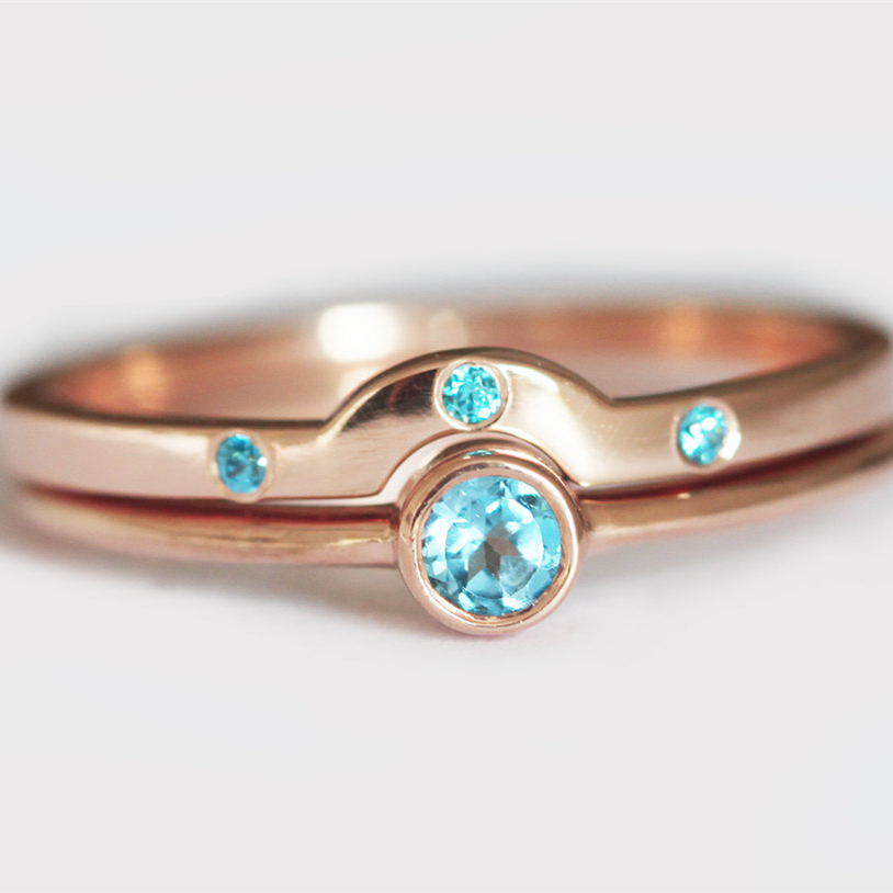 Rings For Women 14k Rose Gold 0.1CT Round Cut Blue Topaz Ring Wedding Ring  Set Engagement Gemstone Wedding Ring Jew In Rings From Jewelry U0026  Accessories On ...