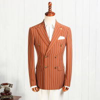 XM Geeki 2018 New Arrival Fashion Wedding Suits Blazer Mens Brown Stripe Suit Jackets Male Business Blazers For Man CBTZ033