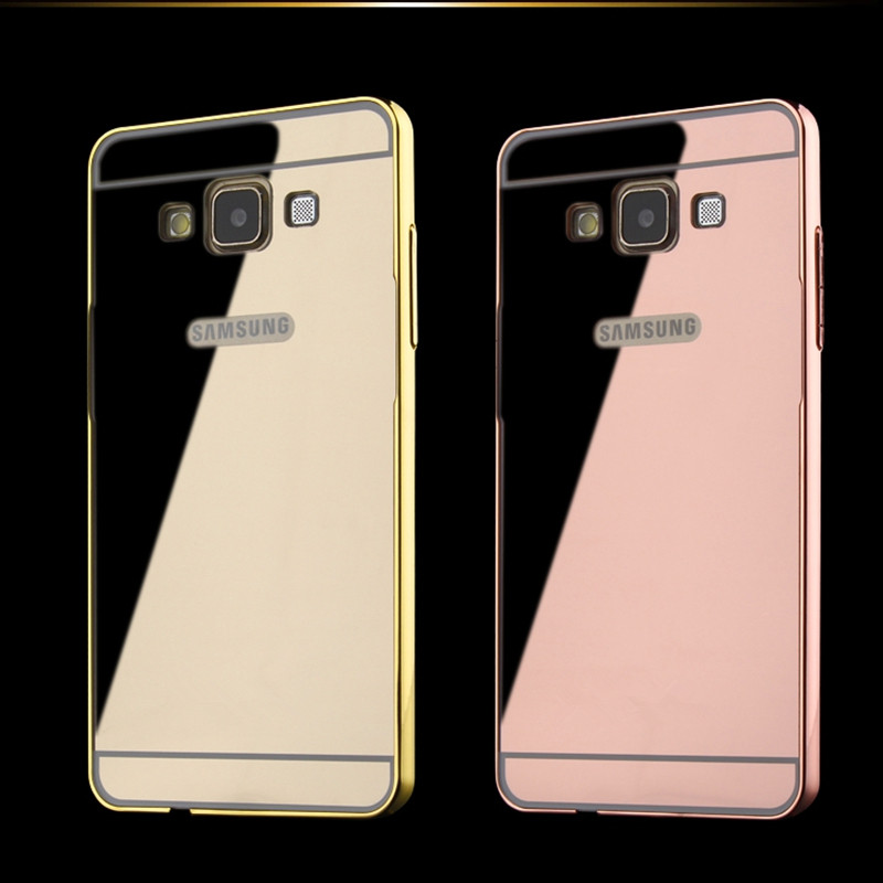 Luxury gold metal plating aluminum Frame soft acrylic mirror Case cover for samsung galaxy A3 A5 J3 J5 J7 2015 2016 J510 J710