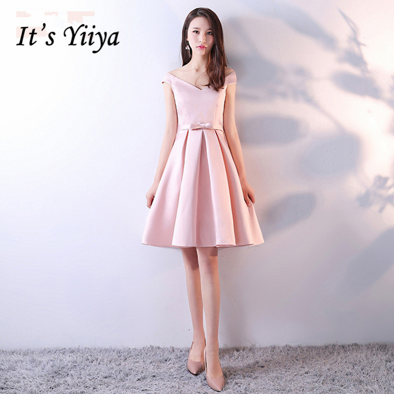 It's Yiiya Luxury Pink V-Neck Off The Shoulder Sleeveless Cocktail Dresses Knee-Length Party Formal Dress MX038
